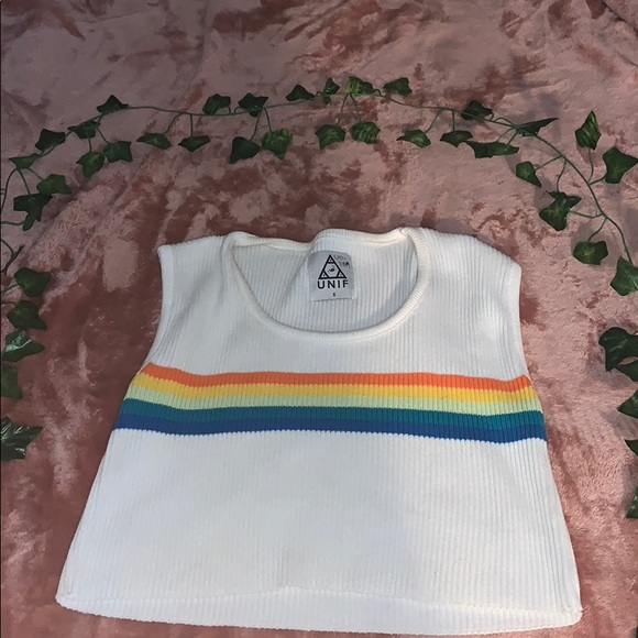 UNIF Tops - COPY - UNIF ribbed rainbow crop top